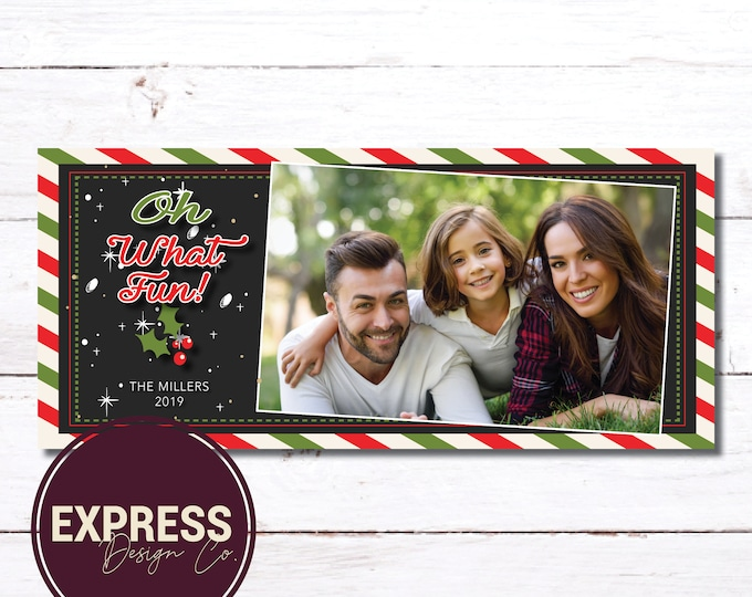 Photo Red & Green Oh What Fun! Christmas Card