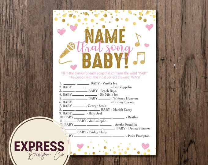 INSTANT DOWNLOAD Name that Song BABY! Pink and Gold Baby Shower Game