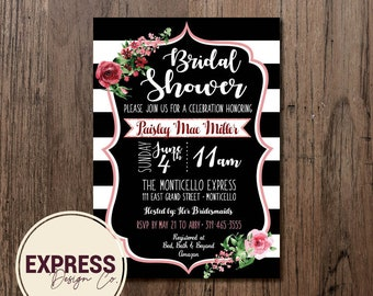 Pink Floral Black and White Striped Bridal Shower Invitation