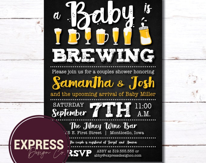 CUSTOMIZED A Baby is Brewing Baby Shower Invitation