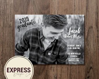 Black and White Photo Graduation Party Invitation