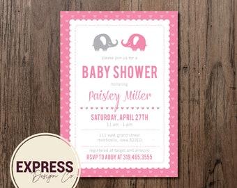 Elephant & Heart Baby Shower Invitation