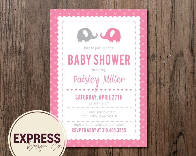 Elephant & Heart Baby Shower Invitation