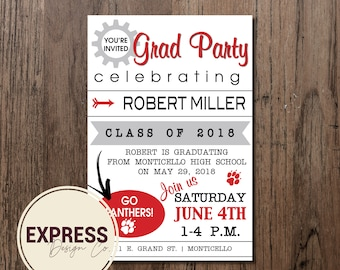 Simple School Color Graduation Party Invitation