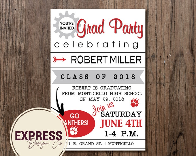 Simple School Color Graduation Party Invitation
