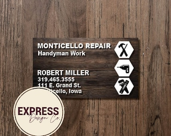 Repair Construction Carpentry Handyman Woodworking Business Card