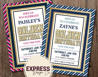 Boys and Girls Striped Golden Birthday Party Invitation
