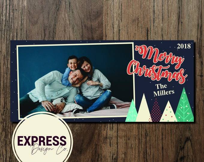 Photo Merry Christmas Geometric Christmas Card