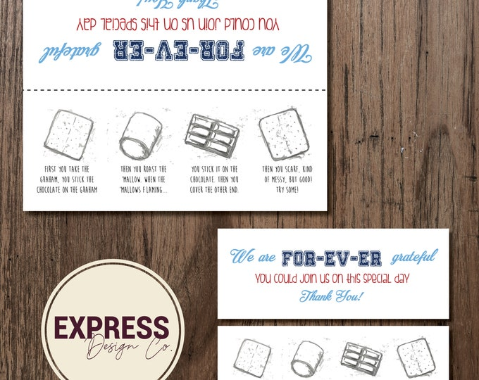 INSTANT DOWNLOAD S'mores Thank You Fold Over Party Favor Tag
