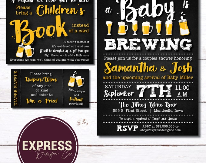 CUSTOMIZED A Baby is Brewing, Beer, Brew & Baby Bottles, Baby Shower Invitation with INSTANT DOWNLOAD Diaper Raffle and Books for Baby