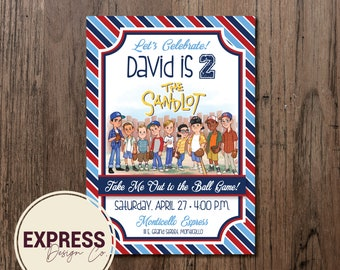 Lets Celebrate Take Me Out to the Ball Game Sandlot Birthday Invitation