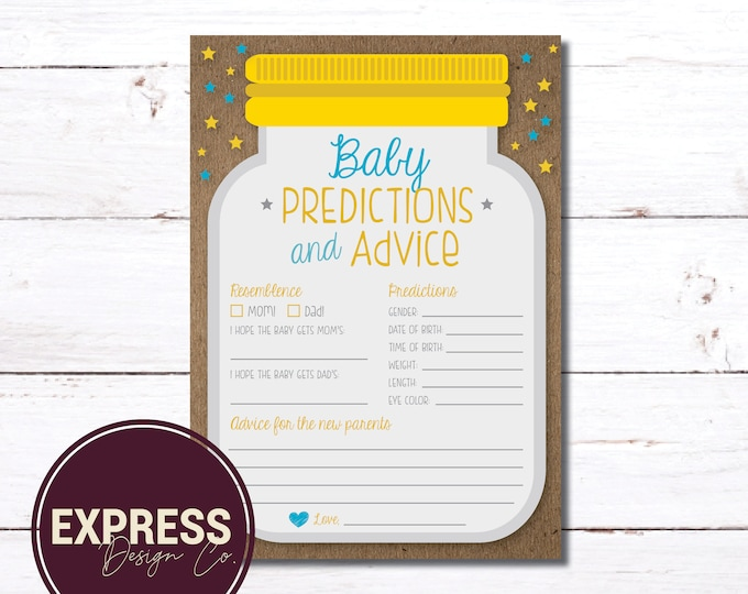INSTANT DOWNLOAD Mason Jar and Stars, Baby Predictions & Parent Advice, Baby Shower