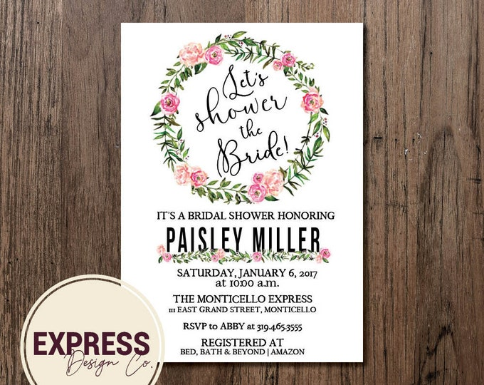 Pink and Green Floral Let's Shower the Bride Bridal Shower Invitation