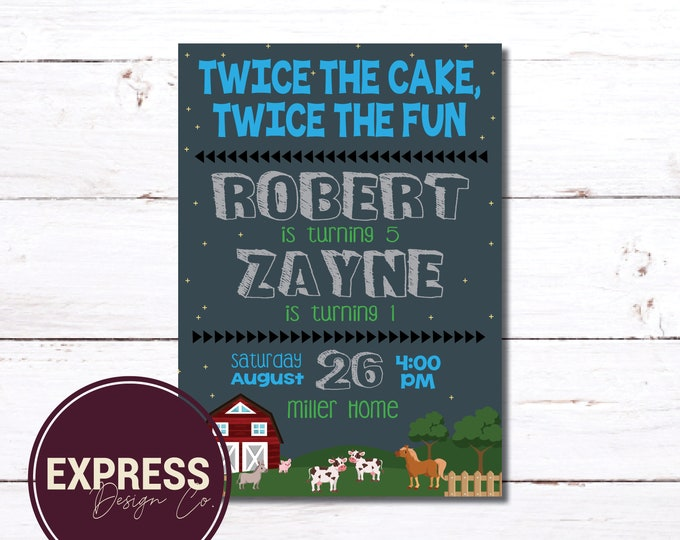 CUSTOMIZED Twice the Cake, Twice the Fun, Double Birthday Party, Barn, Farm, Barnyard Animals, Birthday Party Invitation