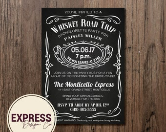 Black and White Whiskey Road Trip Bachelorette Invitation