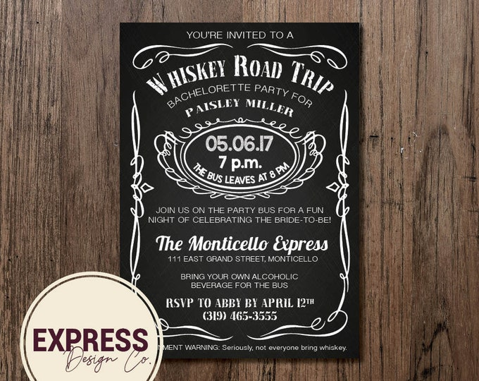 Black and White Whiskey Road Trip Bachelorette Stagette Invitation