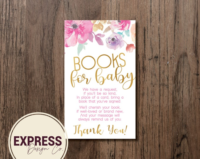 CUSTOMIZED Floral and Gold Foil Books for Baby Cards