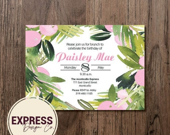 Floral Birthday Brunch Invitation