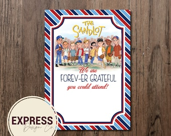 We are FOREV-ER Grateful You Could Attend Sandlot Birthday Invitation