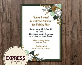 Gold Green and Gray Floral Bridal Shower Invitation