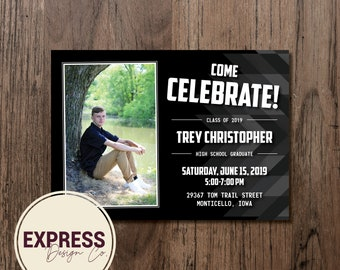 Photo Black Grad Party Invitation