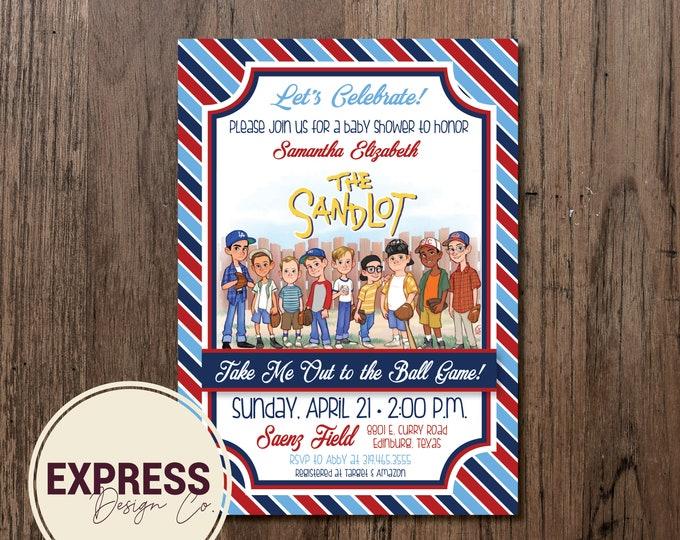 Let's Celebrate Sandlot Baseball Baby Shower Invitation