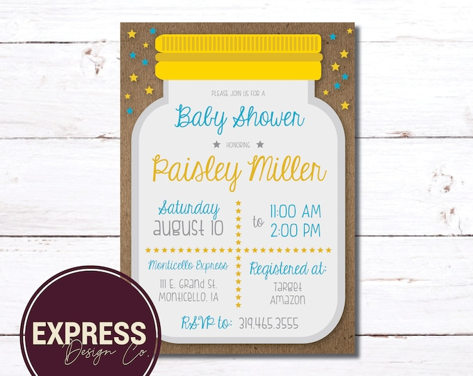 CUSTOMIZED Mason Jar, Star, Gender Neutral Baby Shower Invitation