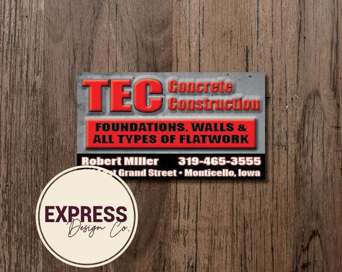 Concrete Construction Business Cards