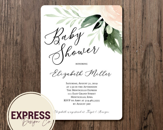 Light Pastel Floral and Greenery Baby Shower Invitation