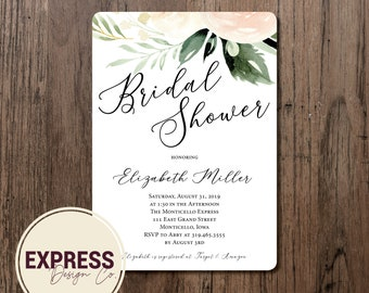 CUSTOMIZED Light Pastel Floral and Greenery Bridal Shower Invitation