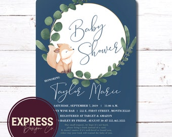 Baby Fox & Eucalyptus Baby Shower Invitation