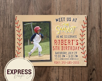 CUSTOMIZED Photo Meet Me at the Sandlot Kids Baseball Birthday Party Invitation