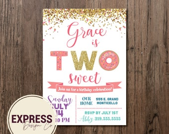Two Sweet Birthday Party Invitation