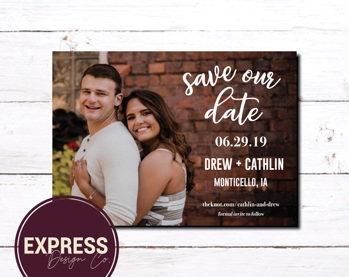 Save Our Date Engagement Photo Card