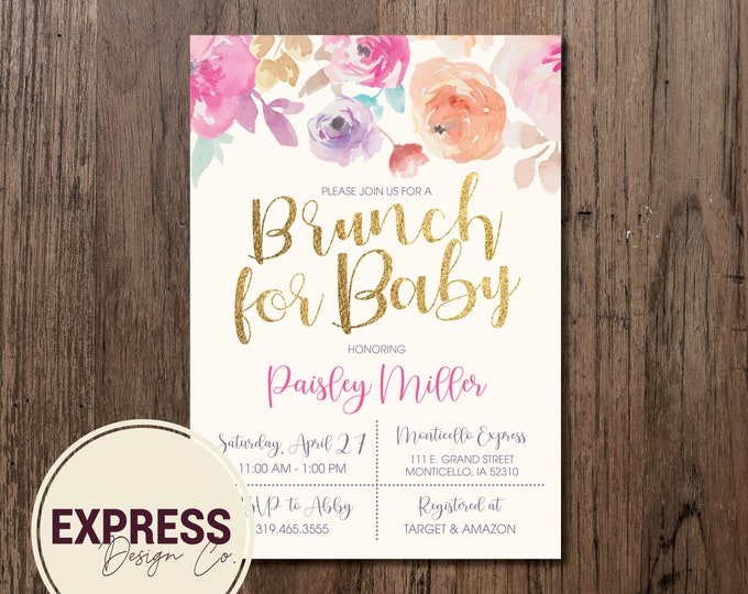 Floral and Gold Brunch for Baby Baby Shower Invitation