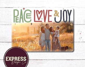 Peace, Love & Joy, Photo Holiday and Christmas Card