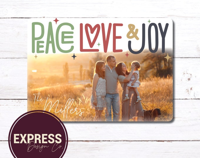Peace, Love & Joy, Photo Holiday and Christmas Card