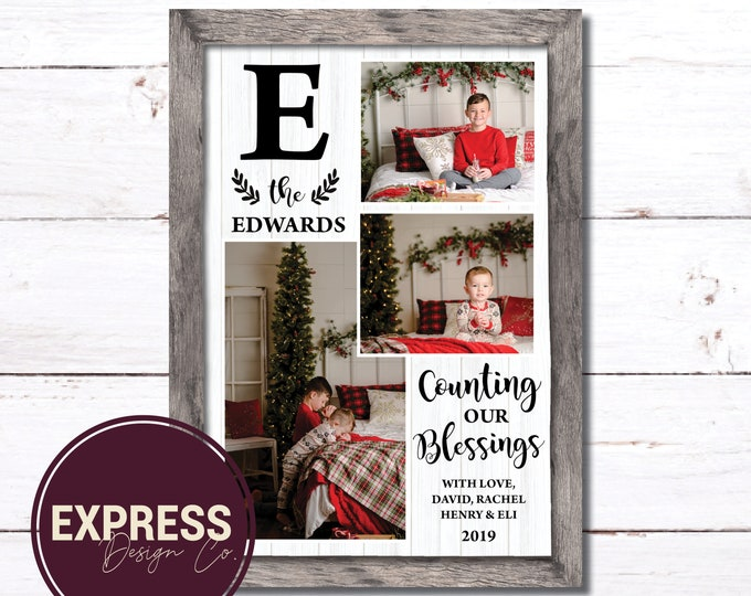 Wooden Frame Count our Blessings Photo Holiday Card