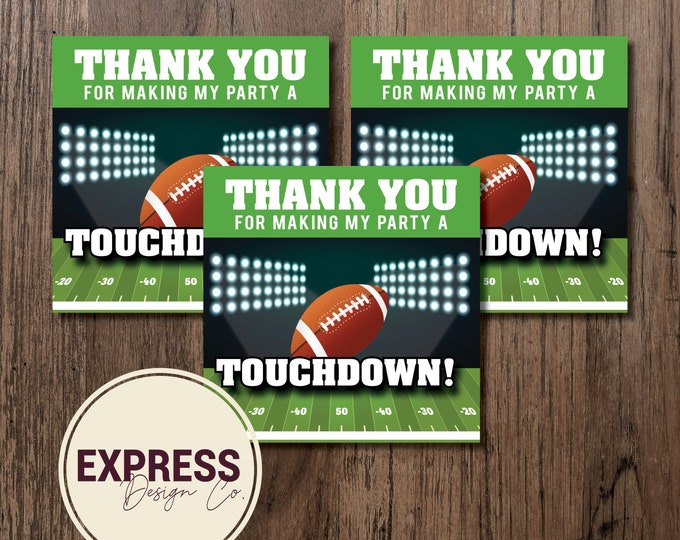 Football Birthday, First Down, Thank You Card, Party Favor Tags