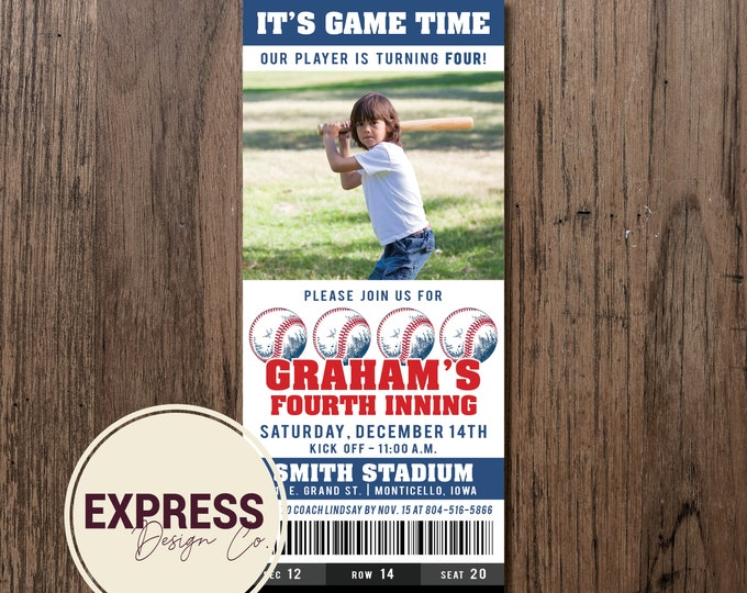 It's Game Time, Our Player, Baseball Ticket Birthday Party Invitation