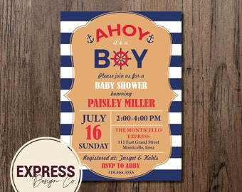 Navy and White Striped Nautical Ahoy It's a Boy Baby Shower Invitation