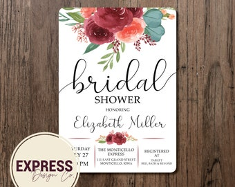 Cranberry Floral and Greenery Bridal Shower Invitation