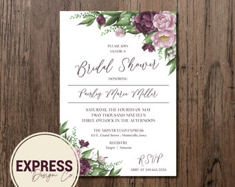 Mauve Floral Bridal Shower Invitation