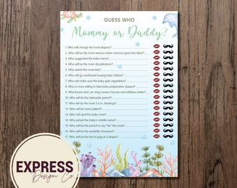 INSTANT DOWNLOAD Guess Who - Mommy or Daddy? Under the Sea Baby Shower Party Game