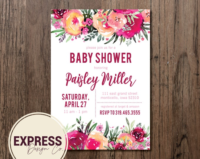 Red and Pink Floral Baby Shower Invitation