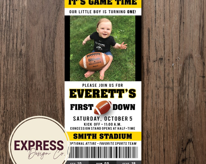 It's Game Time, 1st Birthday, Football Ticket Birthday Party Invitation