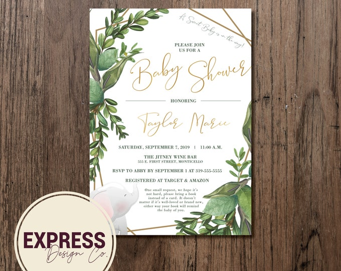CUSTOMIZED Baby Elephant Botanical Baby Shower Invitation