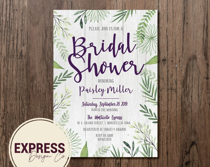 Botanical Rustic Bridal Shower Invitation