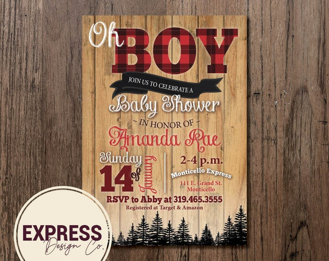 Oh Boy Lumberjack Buffalo Check Plaid Baby Shower Invitation