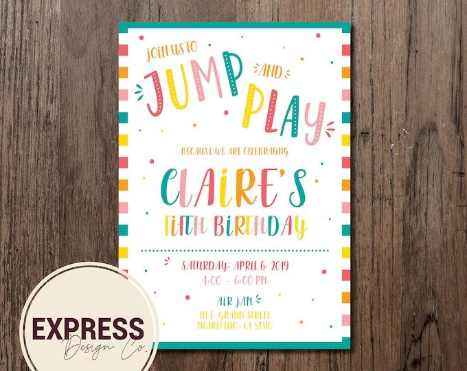 Jump and Play Birthday Party Celebration Invitation